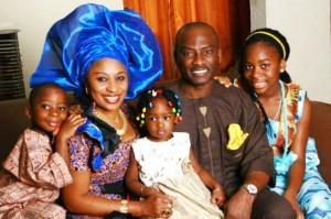 D1, his wife, Caroline and Kids in Nigeria