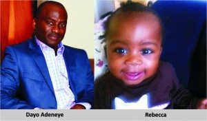 Dayo Adeneye with love child, rebecca