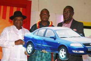 L-R: Chief Reggi Uduhiri, Executive Director, Honourable Amb. Eddison Ukeh, winners of Nissan X-Trail Classic and Mr. Lawal Idris, Executive Director at the Mr. Chef Distributors Reward/5th Anniversary held in Lagos recently