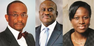 Sanusi Lamido Sanusi (Governor, Central Bank of Nigeria), Michael Ikpoki (Managing Director, MTN Nigeria) and Sola David Borha (Chief Executive Officer, Stanbic IBTC Bank Plc.)