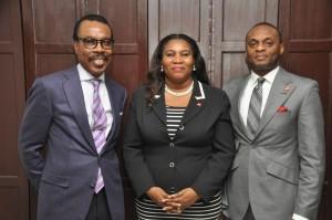 L-R: . Bismarck Rewane, Managing Director, Financial Derivative Company Ltd. ; Toyin Sanni, Group CEO, United Capital Plc ; Mr. Jude Chiemeka, MD, UBA Securities Ltd.