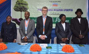 (L-R) Oluchi Odimuko, Executive Secretary, Manufacturers Association of Nigeria, Apapa Branch;  Andrew Enahoro, Head, Legal/Public Relations, Promasidor Nigeria Limited; Olivier Thiry, Managing Director, Promasidor; Adetola Onisarotu, Director, Laboratory Services, Lagos State Environmental Protection Agency (LASEPA); and K.A. Bello, Director, E-Waste Unit, LASEPA; at the 'Tree Planting Day' celebration held at Promasidor Headquarters in Isolo, Lagos