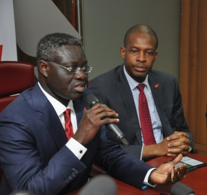 l-r: Group Managing Director/CEO, UBA Plc, Mr. Phillips Oduoza and Director, Information Technology, UBA Plc, Mr Rasheed Adegoke during the press launch of the Bank's simplified solution for  Biometric Verification Numbers (BVN) registration, in Lagos on Monday