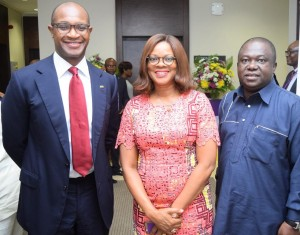 From left: The Group Managing Director/Chief Executive of First City Monument Bank (FCMB), Mr. Ladi Balogun; the Publisher of TW Magazine, Mrs. Adesuwa Onyenokwe and the Chairman/Chief Executive of Brila FM, Dr. Larry Izamoje, during a media parley/workshop organised for Online Journalists by the Bank. The event took place on September 29, 2015 in Lagos.