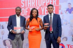 Group photo of the winners of the startupper challenge L-R Owoyemi Owosho - Winner, Uzoma Eleke - 1st Runner Up, Nwachinemere 2nd runner up