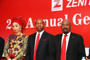 R-L: Chairman, Zenith Bank Plc, Jim Ovia; Group Managing Director/Chief Executive Officer, Peter Amangbo and Executive Director, Adaora Umeoji at the bank's 25th Annual General Meeting (AGM) held at the Civic Centre, Lagos on Wednesday.