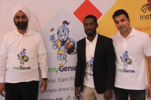 L – R Dr. Inderpal Mumick, Chief Executive Officer, Kirusa Incorporated, Oluseyi Akinnibosun, Country Manager Kirusa Nigeria and Vishavjit Soni, Product Manager, MyGenie App at a press conference to announce the launch of MyGenie App in Lagos, June 30,2016.