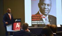 Mr. Tony Elumelu, Chairman Heirs Holdings and recipient of the 'Person of the year' award, speaking shortly after receiving the award at the NASDAQ office in New York.